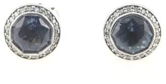 John Hardy Sterling Silver Round Blue Topaz & Diamond Earrings