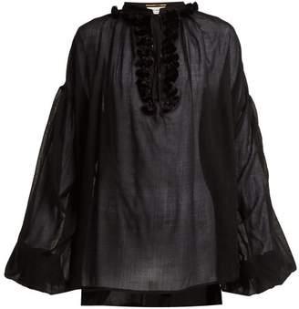 Saint Laurent Tassel Trimmed Wool Top - Womens - Black