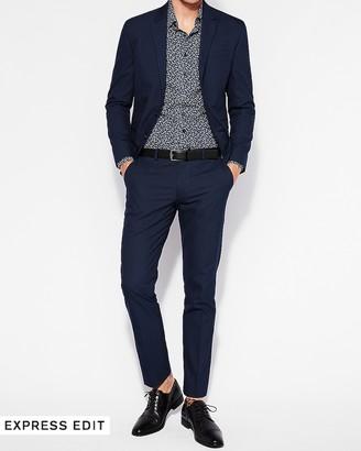 Express Extra Slim Navy Blue Cotton Blend Suit Pant