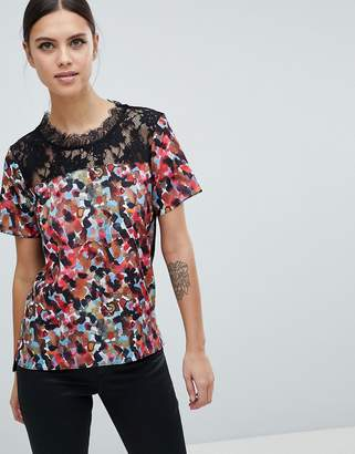 French Connection Eleanor Printed Top with Lace Insert