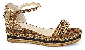 Christian Louboutin Women's Madmonica Platform Leopard-Print Leather Wedge Sandals