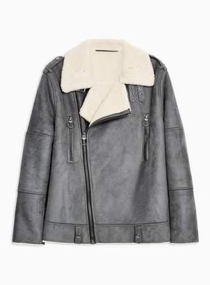 Topman Mens Mid Grey Grey Faux Shearling Biker Jacket