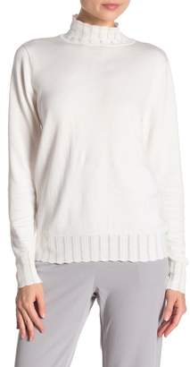 Joseph A Scalloped Trim Long Sleeve Turtleneck Sweater