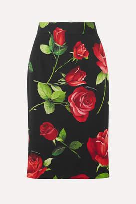 Dolce & Gabbana Floral-print Silk-blend Chiffon Skirt - Black