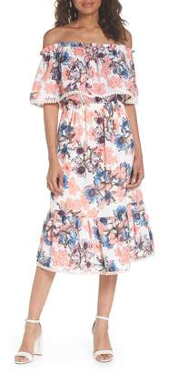 Fraiche by J Off the Shoulder Tiered Midi Dress