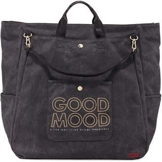 "Peace Love World Good Mood"" North-South Canvas Duffel Bag"