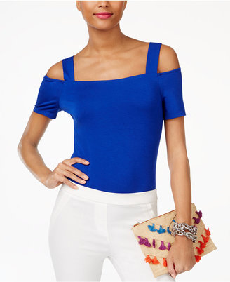INC International Concepts Cold-Shoulder Bodysuit, Only at Macy's $44.50 thestylecure.com