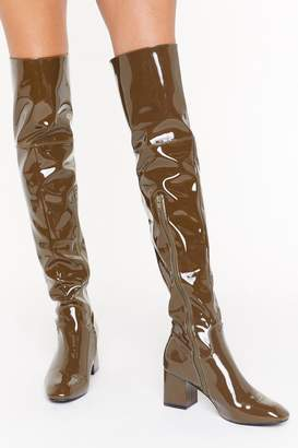 Nasty Gal Womens Think Things Over Patent Faux Leather Thigh High Boots - Green - 3