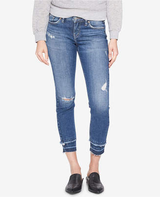 Silver Jeans Co. Aiko Ripped Frayed Ankle Skinny Jeans