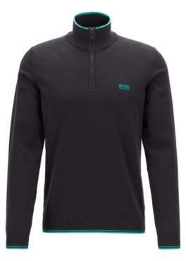 BOSS Zip-neck sweater in a cotton blend