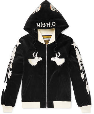 Neighborhood Embroidered Cotton-Velvet Hooded Bomber Jacket