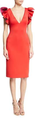 Jovani Ruffle-Shoulder Sheath Cocktail Dress