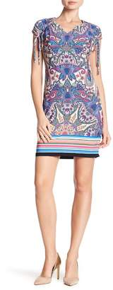 London Times Cap Sleeve Tie Printed Shift Dress