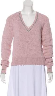 White + Warren V-Neck Knit Sweater