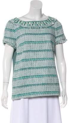 Tory Burch Short Sleeve Tweed Top