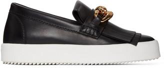 Giuseppe Zanotti Black Fringe & Chain Loafer Sneakers $650 thestylecure.com