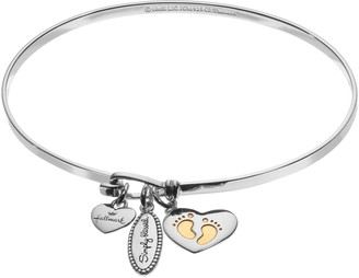 "Hallmark Sterling Silver ""Simply Blessed"" & Newborn Charm Bangle Bracelet"