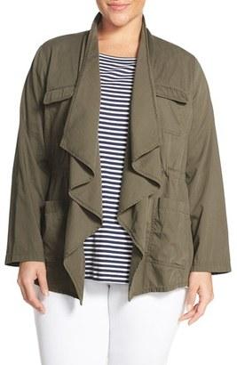 Plus Size Women's Caslon Drape Front Utility Jacket $79 thestylecure.com
