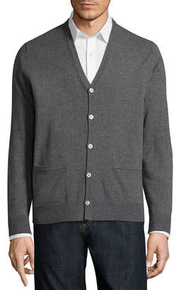 Claiborne Y Neck Long Sleeve Cardigan