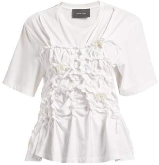 Simone Rocha Pearl Embellished Gathered Cotton T Shirt - Womens - White