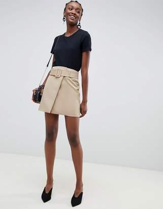 Asos DESIGN mini skirt with self belt in camel