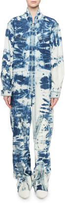 Stella McCartney Long-Sleeve Tie-Dye Denim Jumpsuit