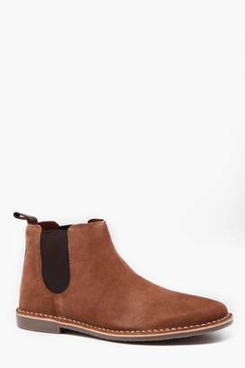 boohoo Real Suede Gum Sole Chelsea Boot
