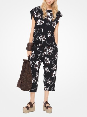 Michael Kors Floral Crepe-Cady Pullover