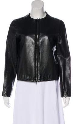 Calvin Klein Collection Mock Neck Leather Jacket