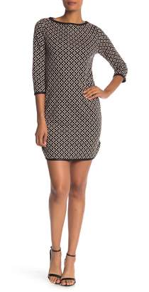 Max Studio Jacquard Floral 3/4 Sleeve Dress