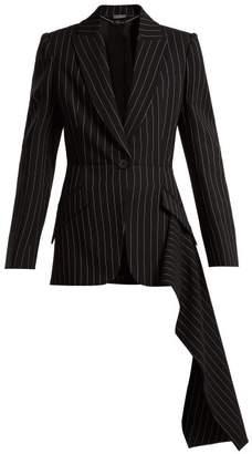 Alexander McQueen Draped Pinstripe Wool Jacket - Womens - Black