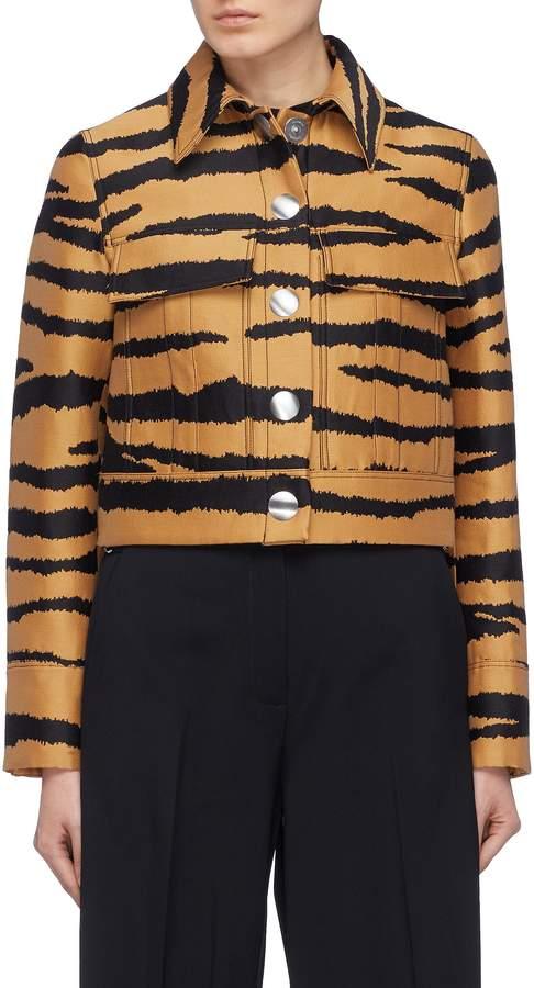 Tiger jacquard cropped jacket