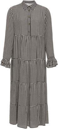 Ganni Plaid Crepe Midi Dress Size: 38