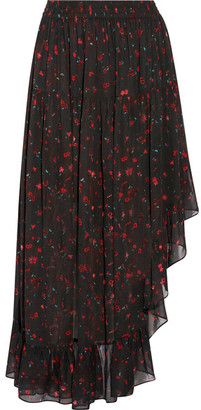 IRO - Jonel Asymmetric Ruffled Printed Georgette Midi Skirt - Black $360 thestylecure.com