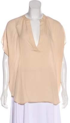 Diane von Furstenberg Semi-Sheer Short Sleeve Blouse