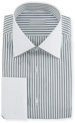 Stefano Ricci Men's Striped Dress Shirt with Contrast Trim