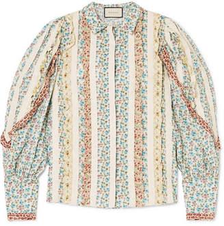 Gucci Lace-paneled Ruffled Floral-print Cotton-poplin Shirt - Ivory