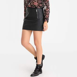 Ikks Leather Straight Mini Skirt