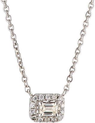 Neiman Marcus Diamonds 14k White Gold Diamond Rectangular Solitaire Pendant Necklace, 0.3tcw