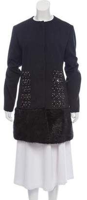 Marni Fur-Trimmed Knee-Length Wool Coat