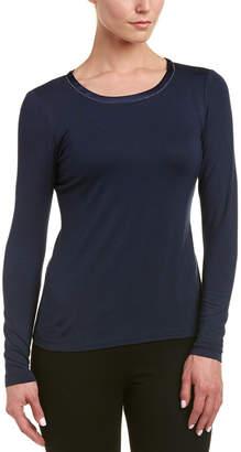 Lafayette 148 New York Petite Charmeuse Trim T-Shirt