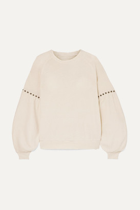 The Great The Bishop Studded Cotton-jersey Sweatshirt - Cream