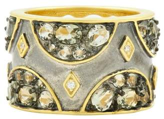Freida Rothman Rose d'Or 14K Yellow Gold & Black Rhodium Plated CZ Wide Band Ring - Size 7