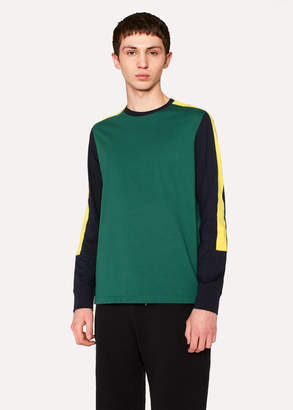 Paul Smith Men's Dark Green Long-Sleeved T-Shirt With Colour Panels