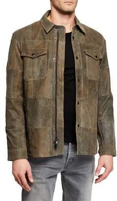 John Varvatos Men's Patchwork Crackle Goat Leather Jacket