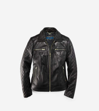 Cole Haan Shirt Collar Smooth Quilted Leather Jacket