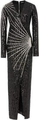 Balmain Crystal-Embellished Lamé Gown