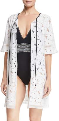 Neiman Marcus Kisuii Mila Floral-Lace Tie-Neck Swim Coverup