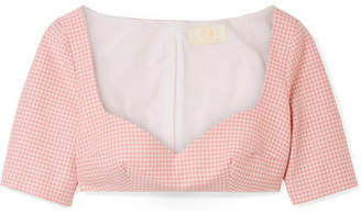 Sara Battaglia Cropped Gingham Cotton-blend Top - Pastel pink