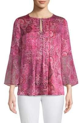 Elie Tahari Orion Printed Bell-Sleeve Silk Blouse